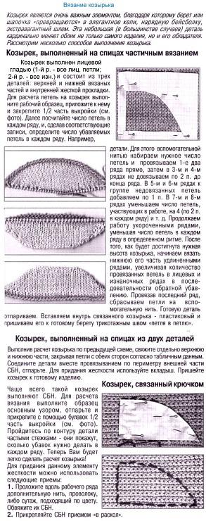 Вязание беретов с козырьком спицами для женщин с описанием 59